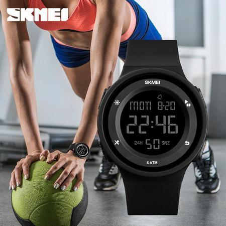 Ceas dama, Skmei, fitness, calendar, cronometru, afisare saptamana, alarma, led, negru 4