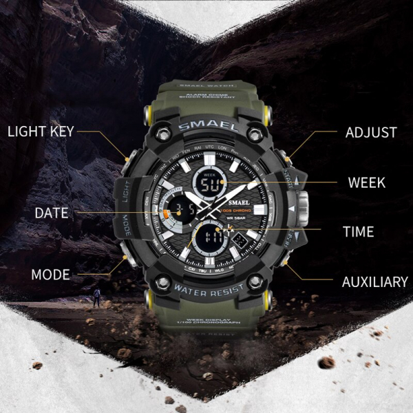 Smael Ceas barbatesc Army Cronograf Dual Time Militar Rezistent la socuri si apa [2]