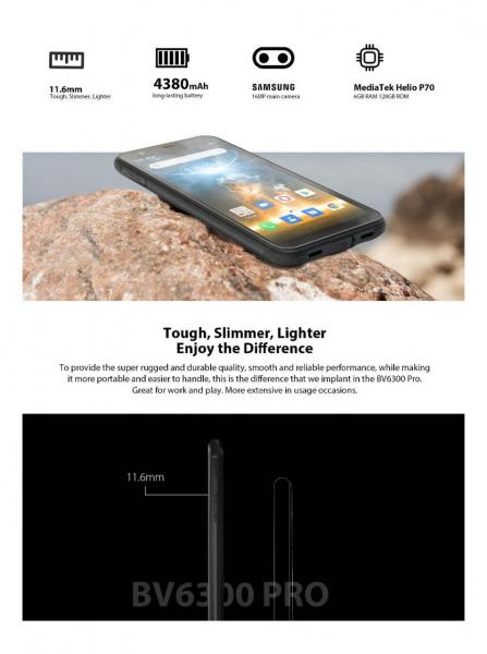 Telefon mobil Blackview BV6300 PRO, Android 10, 4G, Bateria 4380 mAh, Ecran IPS 5.7'', Procesor Helio P70 OctaCore, Dual SIM, RAM 6GB, ROM 128GB, Baterie 4380mAh, 16 Milioane Culori, Giroscop, GPS, Negru 8