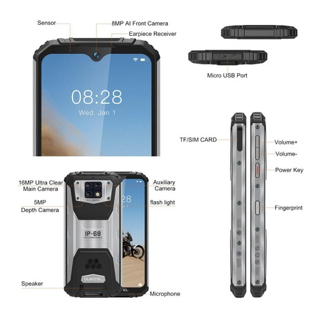 Telefon mobil Oukitel WP6, Face ID, Dual SIM, Baterie 10000mAh, Android Q, Display IPS 6.3 inch, 6 GB RAM, 128 GB ROM, OctaCore, ipx68, Negru argintiu 1