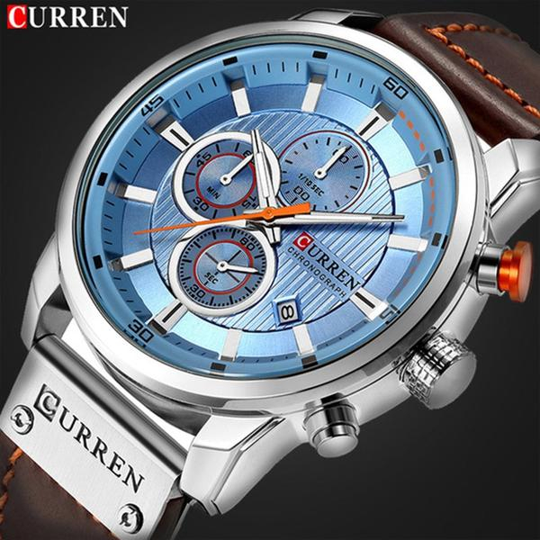 Top brand luxury Curren, Ceas barbatesc casual, Fashion, Quartz, Business, Curea din piele 2