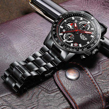 Ceas barbatesc, Lige, Business, Luxury, Elegant, Quartz, Cronograf, Calendar, Rezistenta la apa 3ATM 5