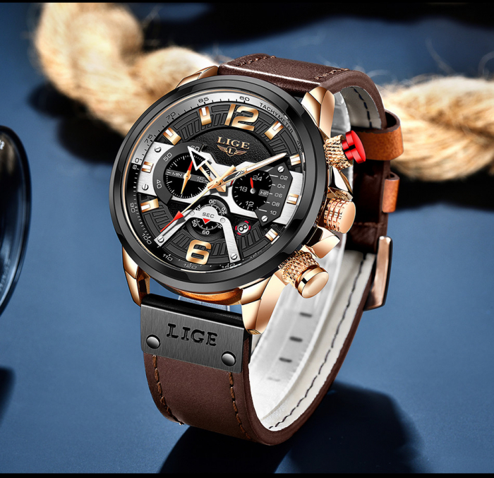 Ceas barbatesc Lige Casual Cronograf Automatic Quartz [4]
