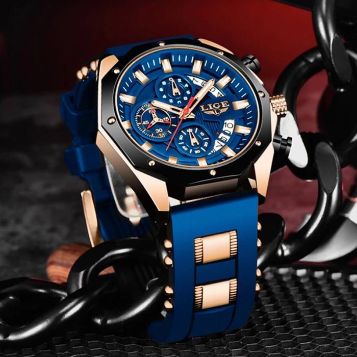 Ceas barbatesc Lige Fashion Cronograf Silicon Quartz 2