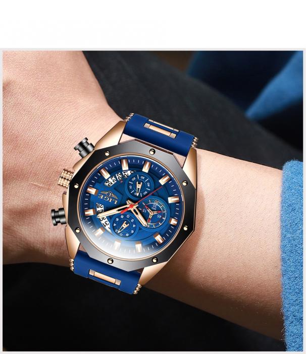 Ceas barbatesc Lige Fashion Cronograf Silicon Quartz 4
