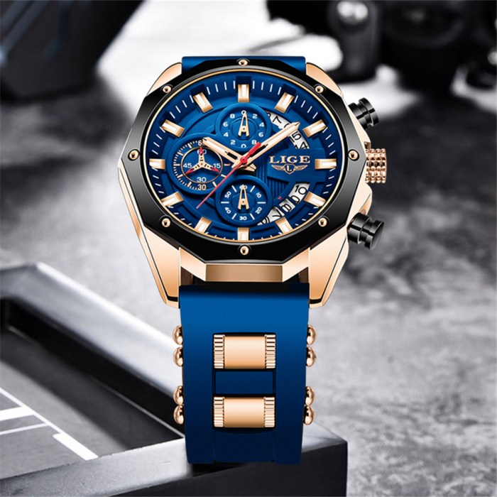 Ceas barbatesc Lige Fashion Cronograf Silicon Quartz 5