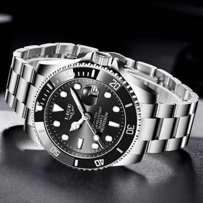 Ceas barbatesc Lige Submariner Luxury Quartz Otel inoxidabil 5