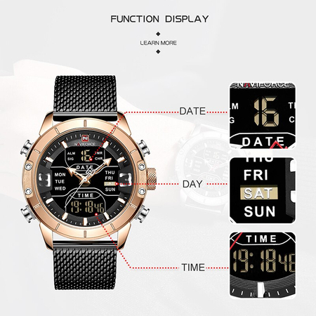 Ceas barbatesc, NaviForce, Business, Fashion, Elegant, Digital, Analog, Mecanism Quartz Seiko Japonez 3