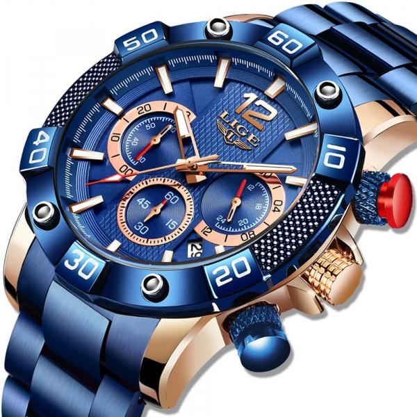 Ceas barbati Lige Elegant Model 2020 Quartz Analog Cronograf Fashion 1