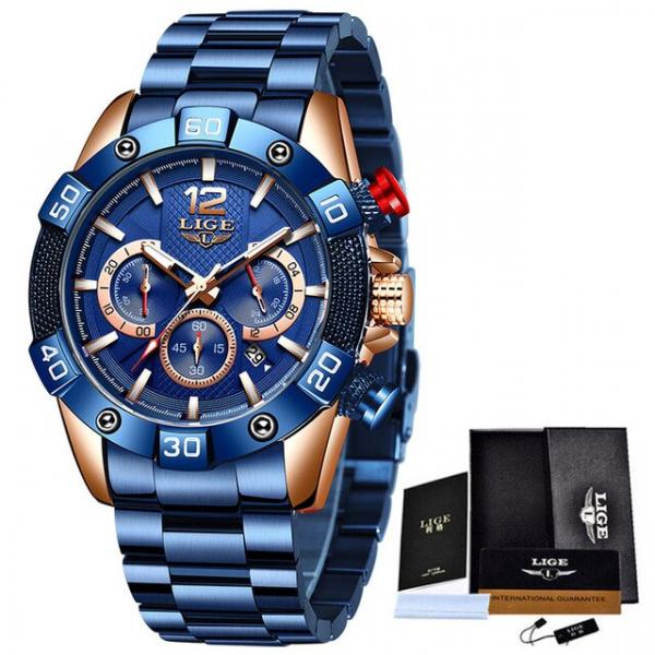 Ceas barbati Lige Elegant Model 2020 Quartz Analog Cronograf Fashion 2
