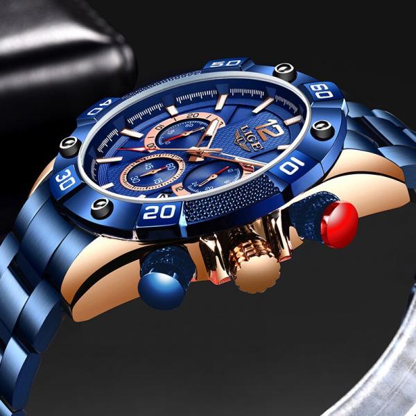 Ceas barbati Lige Elegant Model 2020 Quartz Analog Cronograf Fashion 3