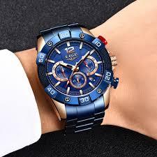 Ceas barbati Lige Elegant Model 2020 Quartz Analog Cronograf Fashion 4