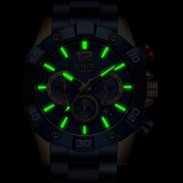 Ceas barbati Lige Elegant Model 2020 Quartz Analog Cronograf Fashion 5