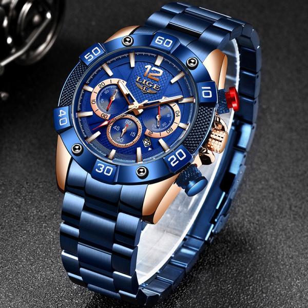 Ceas barbati Lige Elegant Model 2020 Quartz Analog Cronograf Fashion 6