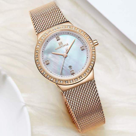 Ceas dama, NaviForce, Elegant, Fashion, Mecanism Quartz Japonez Seiko multifunctional, Afisaj Analog 6