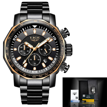 Ceas de mana barbatesc, Lige, Analog, Business, Luxury, Cronograf, Otel inoxidabil, Cronometru 1