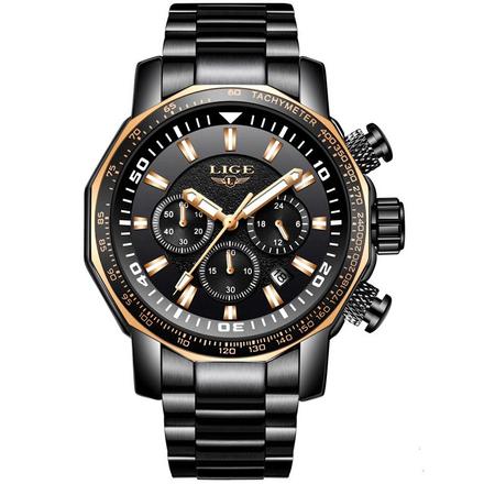 Ceas de mana barbatesc, Lige, Analog, Business, Luxury, Cronograf, Otel inoxidabil, Cronometru 0