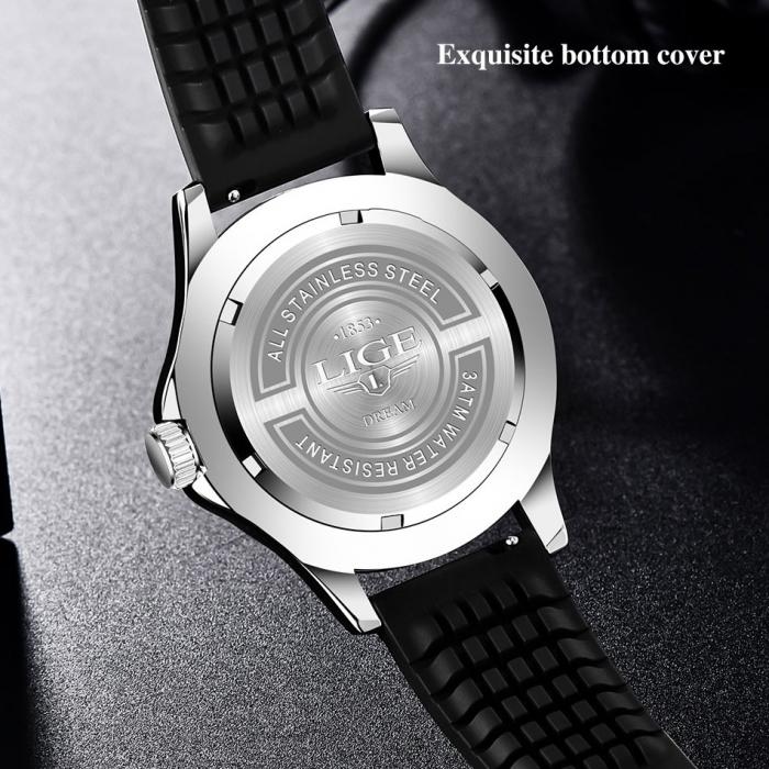 Ceas de mana barbatesc Lige Quartz Casual Fashion Curea din silicon [5]