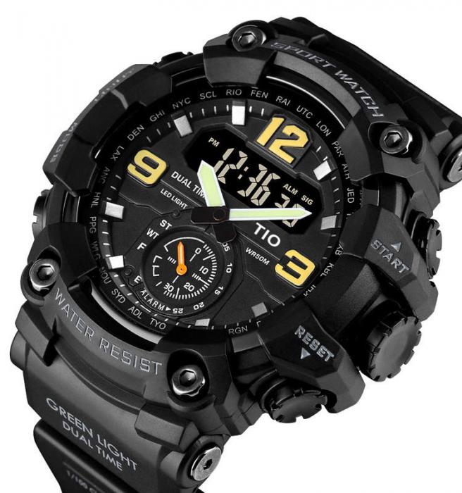 Ceas de mana barbatesc TIO Militar Cronograf Sport Digital Army Rezistent la socuri si apa 0