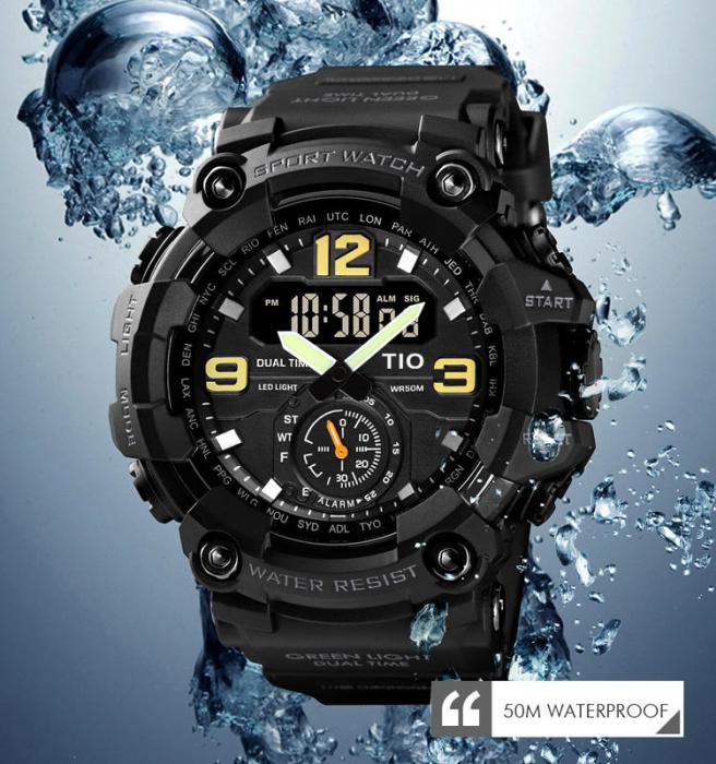 Ceas de mana barbatesc TIO Militar Cronograf Sport Digital Army Rezistent la socuri si apa 2
