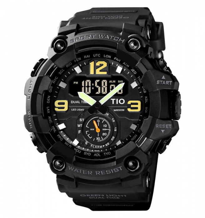 Ceas de mana barbatesc TIO Militar Cronograf Sport Digital Army Rezistent la socuri si apa 1