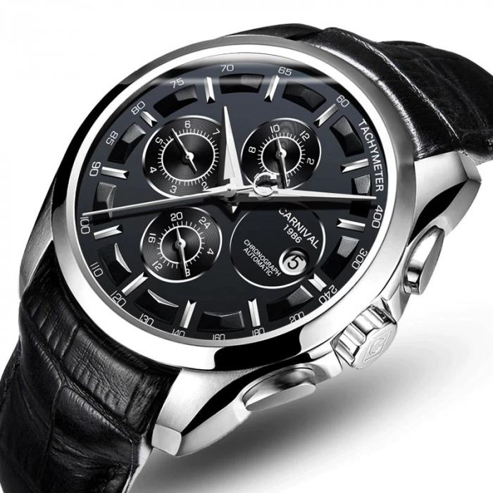 Ceas Mecanic Automatic Carnival Luxury Business Curea din piele [1]