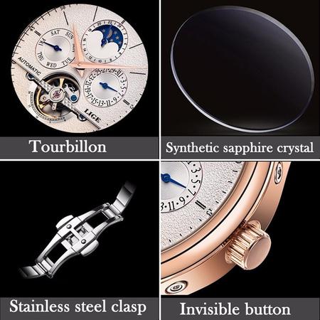 Ceas mecanic automatic, Lige, Elegant, Business, mecanism Tourbillon, curea din piele naturala [5]