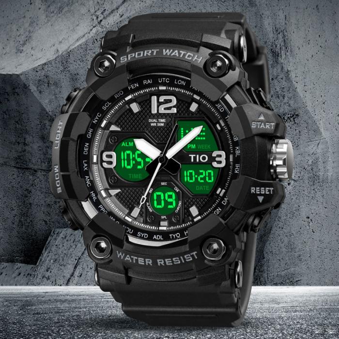 Ceas Militar Tio Army Cronograf Digital Quartz Sport Rezistent la apa si socuri [3]