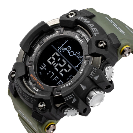 Ceas barbatesc Smael Army Green , Shock resistant, Sport, Militar, Digital, Dual Time, Cronograf 1