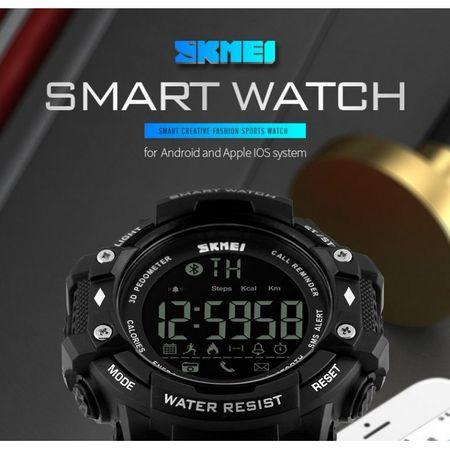 Ceas Smartwatch Barbati, Skmei 1227, Militar, Digital,  Sport, Army, Cronograf, Registru apeluri, Calorii, Pasi, Distanta, Monitorizare Calorii 1