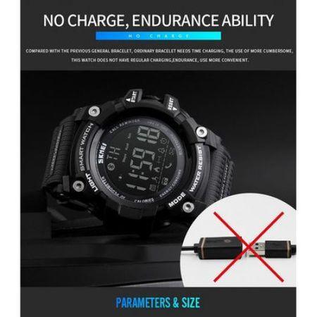 Ceas Smartwatch Barbati, Skmei 1227, Militar, Digital,  Sport, Army, Cronograf, Registru apeluri, Calorii, Pasi, Distanta, Monitorizare Calorii 3