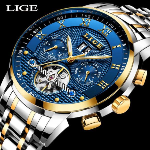 Lige Ceas mecanic automatic Clasic Fashion Otel inoxidabil [3]