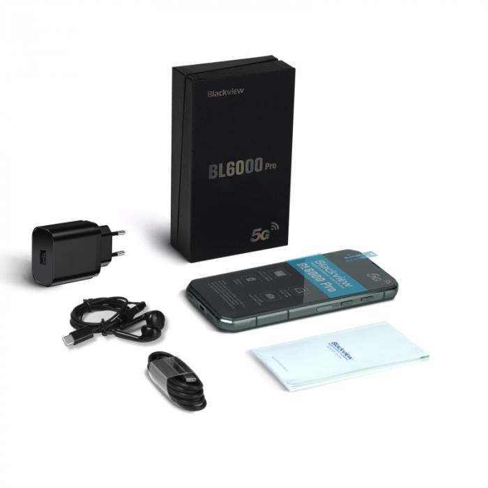 Telefon mobil Blackview BL6000 Pro Gri, 5G, Android 10, 5280mAh, IPS 6.36, 8GB RAM, 256GB ROM, Dimensity 800, NFC, IP68, Dual SIM 4
