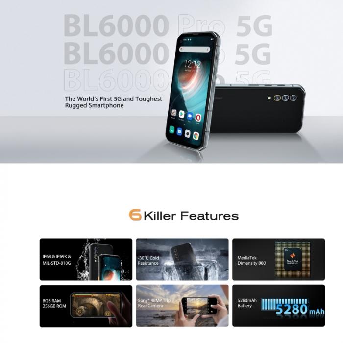Telefon mobil Blackview BL6000 Pro Gri, 5G, Android 10, 5280mAh, IPS 6.36, 8GB RAM, 256GB ROM, Dimensity 800, NFC, IP68, Dual SIM 7