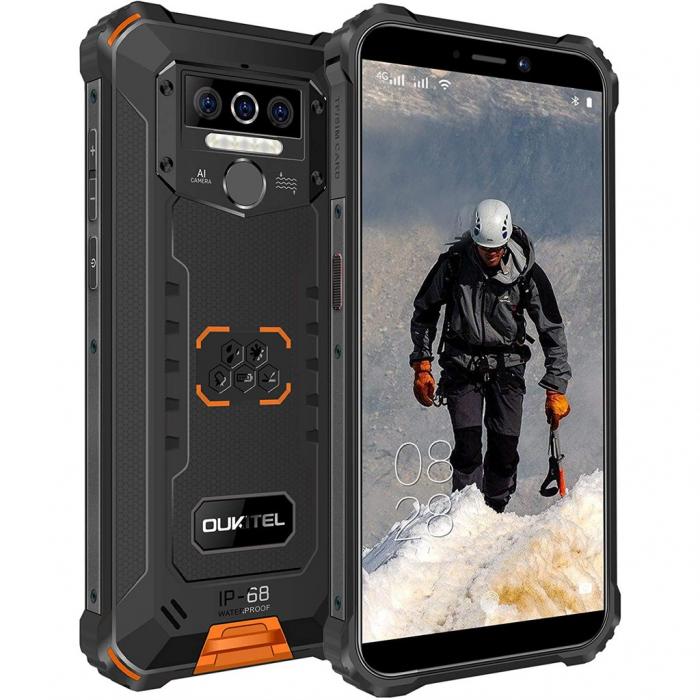 Telefon mobil Oukitel WP5, Smartphone rezistent, Baterie 8000 mAh IPS 5.5inch, 4GB RAM, 32GB ROM, Android 9.0, Orange 0