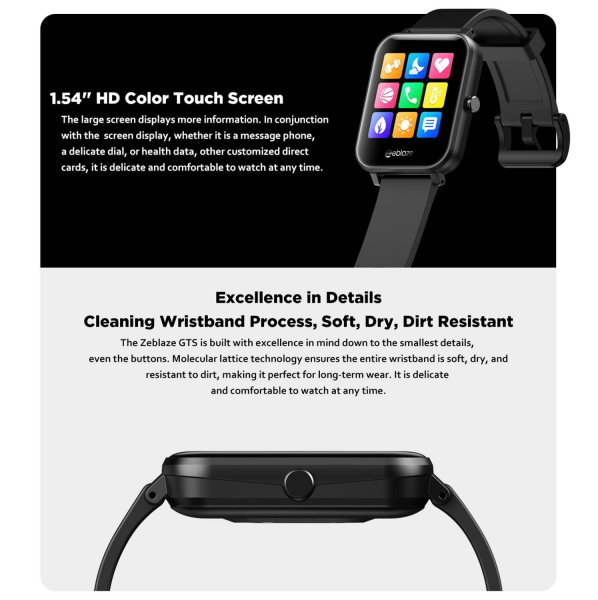 Ceas smartwatch Zeblaze GTS Apelare, Apeluri primire, Monitorizeaza functiile inimii 4