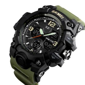 Ceas de mana barbati Skmei, Army, Militar, Dual Time, Shock Resistant, Digital, Sport, Cronograf0