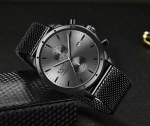 Ceas Barbatesc Cronograf Elegant Analog Quartz Otel inoxidabil4
