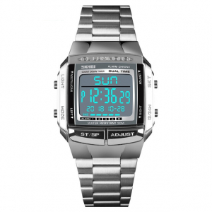 Ceas barbatesc Casual Cronograf Digital LED Alarma Otel inoxidabil1
