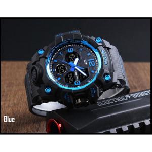 Ceas barbatesc, Skmei, Shock resistant, Cronograf, Army, Militar, Sport, Digital, Rezistent la apa si socuri, Albastru2