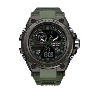Ceas barbatesc, Sanda, Militar, Dual-time, SHOCK Resistant, Mecanism Quartz, Analog, Digital, Casual, Sport, Cronometru, Alarma, Army Green [0]