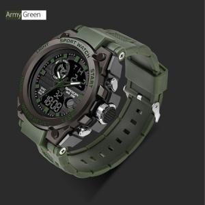 Ceas barbatesc, Sanda, Militar, Dual-time, SHOCK Resistant, Mecanism Quartz, Analog, Digital, Casual, Sport, Cronometru, Alarma, Army Green [1]
