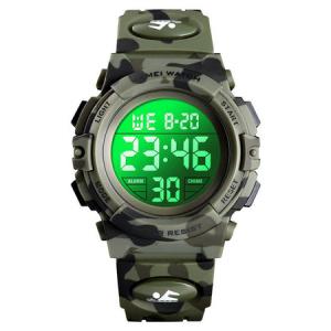 Ceas copii, Pentru baieti, Skmei, Sport, Alarma, Cronometru, Digital, Camuflaj, Army Green2