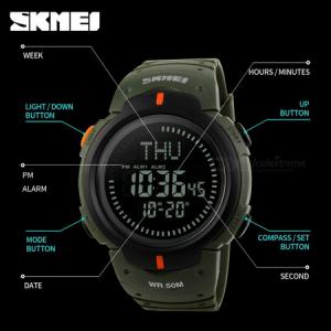 Ceas barbatesc Skmei, Busola, Compass, Ora Globala, 3 alarme, Cronometru, Cronometru invers3