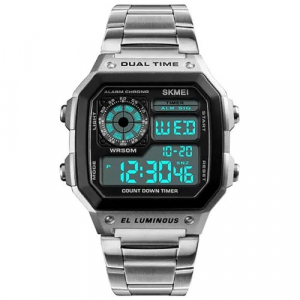 Ceas de mana barbatesc Casual Digital Alarma Cronograf Otel inoxidabil1