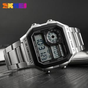 Ceas de mana barbatesc Casual Digital Alarma Cronograf Otel inoxidabil2