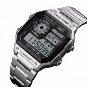 Ceas de mana barbatesc Casual Digital Alarma Cronograf Otel inoxidabil3