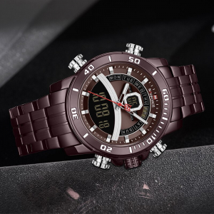 Ceas de mana barbatesc Casual Naviforce Dual Time Cronograf Quartz Otel inoxidabil4