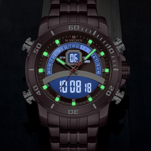 Ceas de mana barbatesc Casual Naviforce Dual Time Cronograf Quartz Otel inoxidabil6