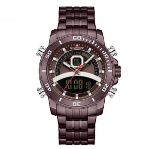 Ceas de mana barbatesc Casual Naviforce Dual Time Cronograf Quartz Otel inoxidabil0